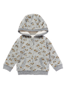 Grey Hooded Print Sweat (0-24 months)