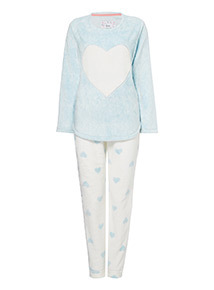 Light Blue Fleece Heart Appliqué Pyjamas
