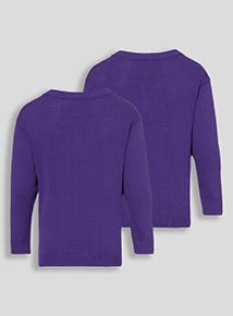 Bright Purple Two Pack V-Neck Jumpers (3-12 years)