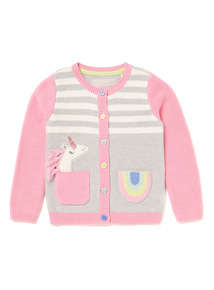 Multicoloured Unicorn Rainbow Knitted Cardigan (9 months-6 years)