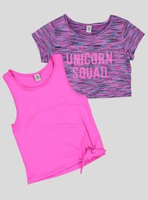 Pink 'Unicorn Squad' Dance Top Set (5- 14 Years)