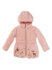 Pink Nature Border Puffa Jacket (9 months-6 years)