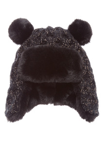 Black and Gold Sparkle Trapper Hat (1 - 12 years)