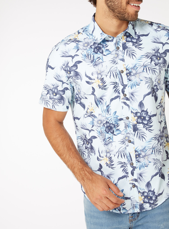 Blue Floral Print Regular Fit Shirt