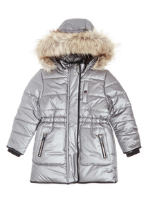 Silver Puffer Coat (3-14 years)