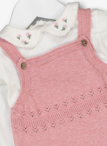 Pink Knitted Bodysuit & Tights 3 Piece Set (0-12 months)