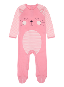 Girls Pink Cat Sleepsuit (0-24months)