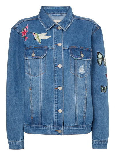 Blue Embroidered Denim Jacket