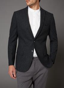 Black Dogtooth Wool Blend Slim Fit Jacket