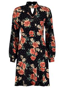 Online Exclusive Black Floral High Neck Dress
