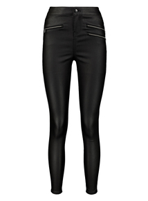 Black Coated Zip Detail Skinny Jeans