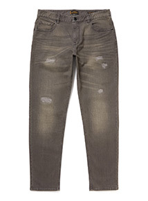 Grey Distressed Tapered Jeans
