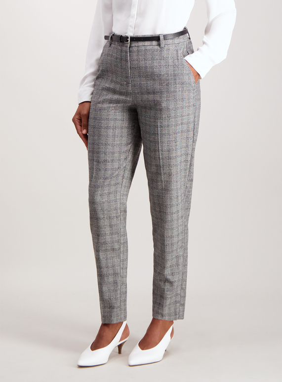 0516be9e7029 Womens Grey Check Tapered Belted Trousers | Tu clothing