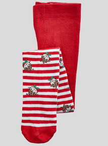 Multicoloured Christmas Pudding Tights (0 - 24 months)