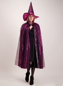 Halloween Pink & Black Adult Witch Cloak & Hat (one size)