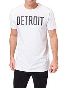 White Longline Detroit Tee