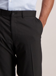 Black Textured Slim Fit Trousers With Stretch