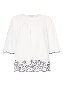 White Floral Scalloped Top