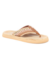 Wood Effect Embellished Flip Flops