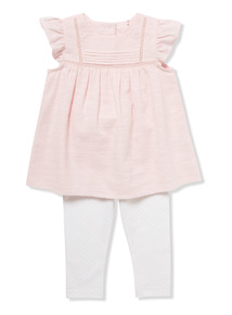 Pink Woven Top and Leggings Set (Newborn-12 Months)