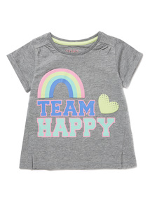 Grey 'Team Happy' Slogan Tee (9 months-6 years)