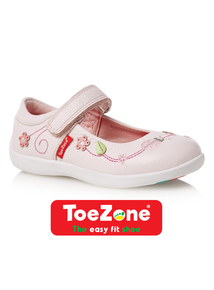 Girls Pink ToeZone Leather Shoes
