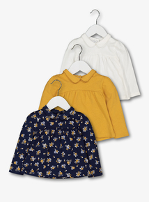 Multicoloured Floral Folk Tops 3 Pack (0-24 months)