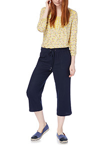Navy Linen Cropped Trousers