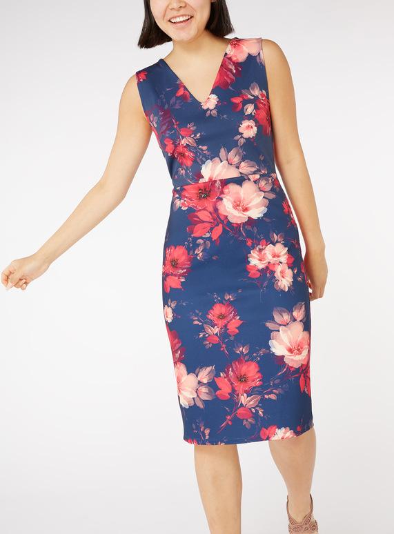 Online Exclusive Multicoloured Floral Print Scuba Dress