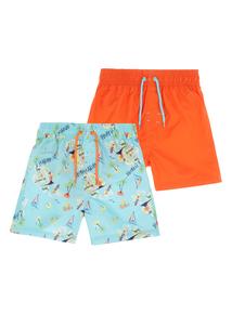 Boys Multicoloured Hawaiian Shorts 2 Pack (9 months - 12 years)