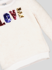 Cream Sequin 'Love' Logo Fleece (3-14 years)