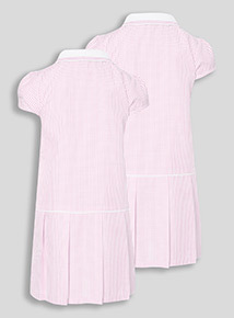 2 Pack Pink Sporty Gingham Dresses (3-12 years)