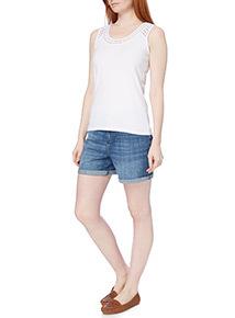 White Plain Lace Vest