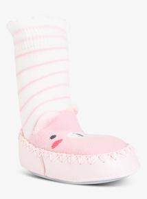 Pink Bear Moccasin Slipper Socks (3- 24 months)