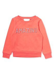 Pink Embossed 'Amazing' Sweat (3-14 years)