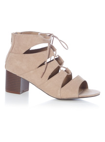 Stone Lace Up Open Toe Block Heel Shoes