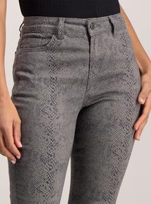 Black Snake Skin Print Skinny Jeans