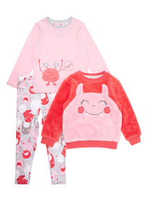 Pink Fluffy Monsters Three Piece Set (3-14 years)