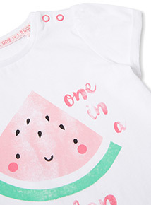 Pink 'I'm One In a Melon' Watermelon Print T-Shirt (0-24 months)