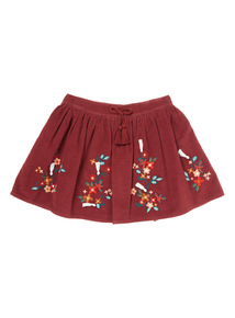 Burgundy Floral Embroidered Skirt (9 months-6 years)