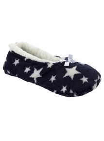 Navy Star Print Cosy Footsie