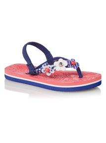 Girls Blue Nautical Flip Flops