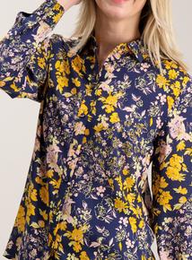 Navy Floral Print Blouse