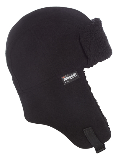 Menswear Black Thinsulate Fleece Trapper Hat  b57d84dd0c2