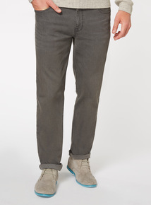 Grey Wash Denim Straight Jeans