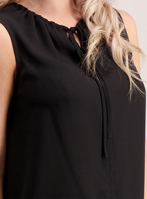 PETITE Online Exclusive Black Tie Front Sleeveless Blouse