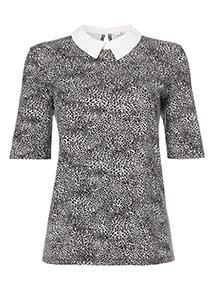 Black Leopard Print Collar Top