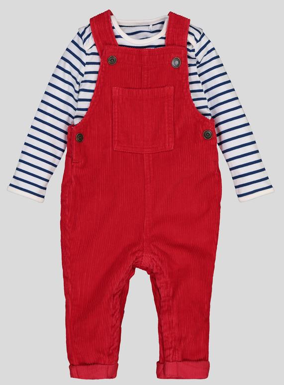 078dc1db3 Baby Red Corduroy Dungaree Set (0-24 Months)