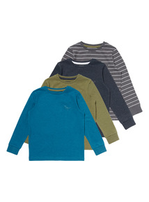 Multicoloured Long Sleeve Dino Tees 4 Pack (9 months-5 years)