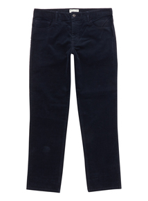 Navy Straight Stretch Corduroy Trousers